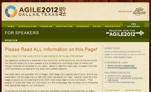 Agile2012    For Speakers